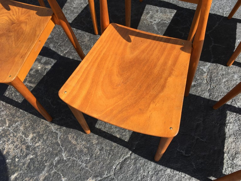 Set of Six Beautiful Bentwood Danish Dining Chairs For Sale 1