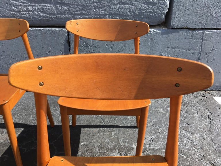 Set of Six Beautiful Bentwood Danish Dining Chairs For Sale 2
