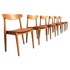 Set of Six Beautiful Bentwood Danish Dining Chairs