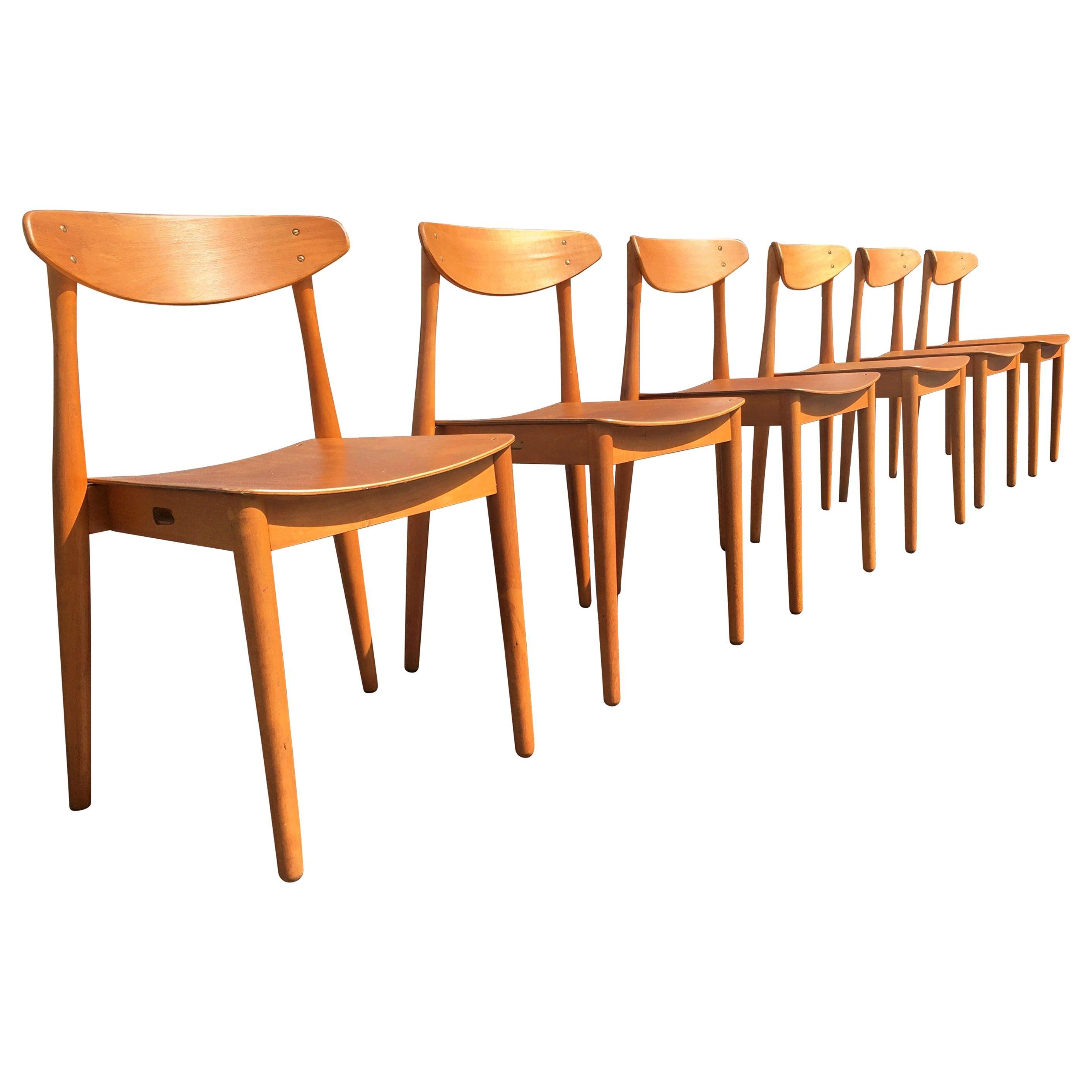 Set of Six Beautiful Bentwood Danish Dining Chairs