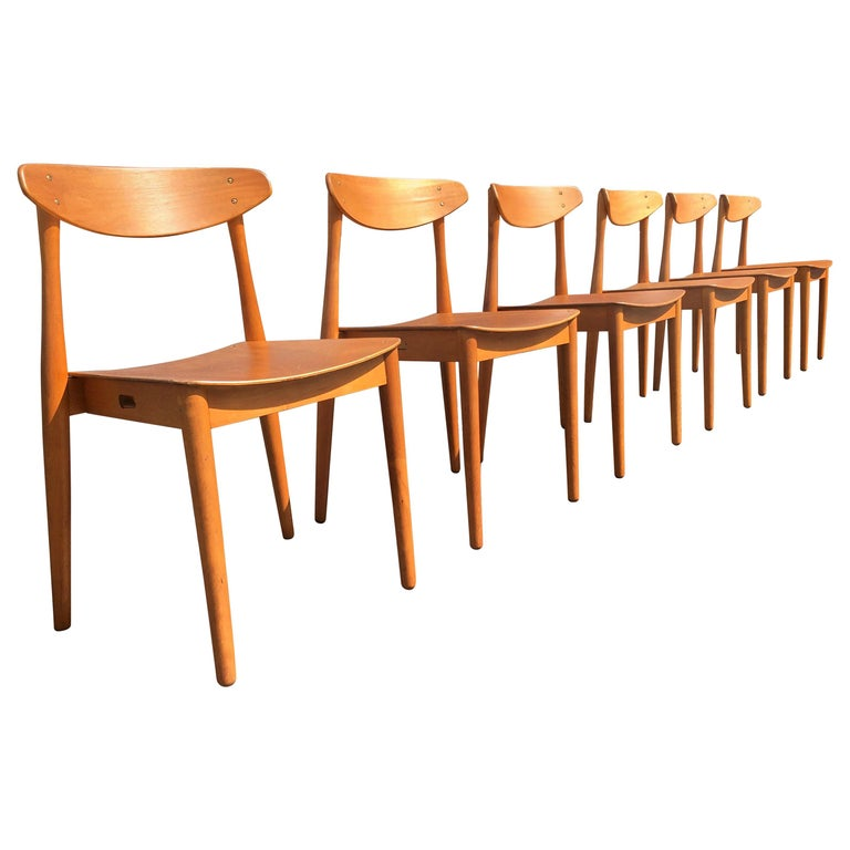 Set of Six Beautiful Bentwood Danish Dining Chairs For Sale