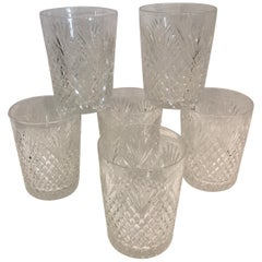 Set of Six Beautifully Hand Cut Crystal Rock Glasses Art Deco, 1920