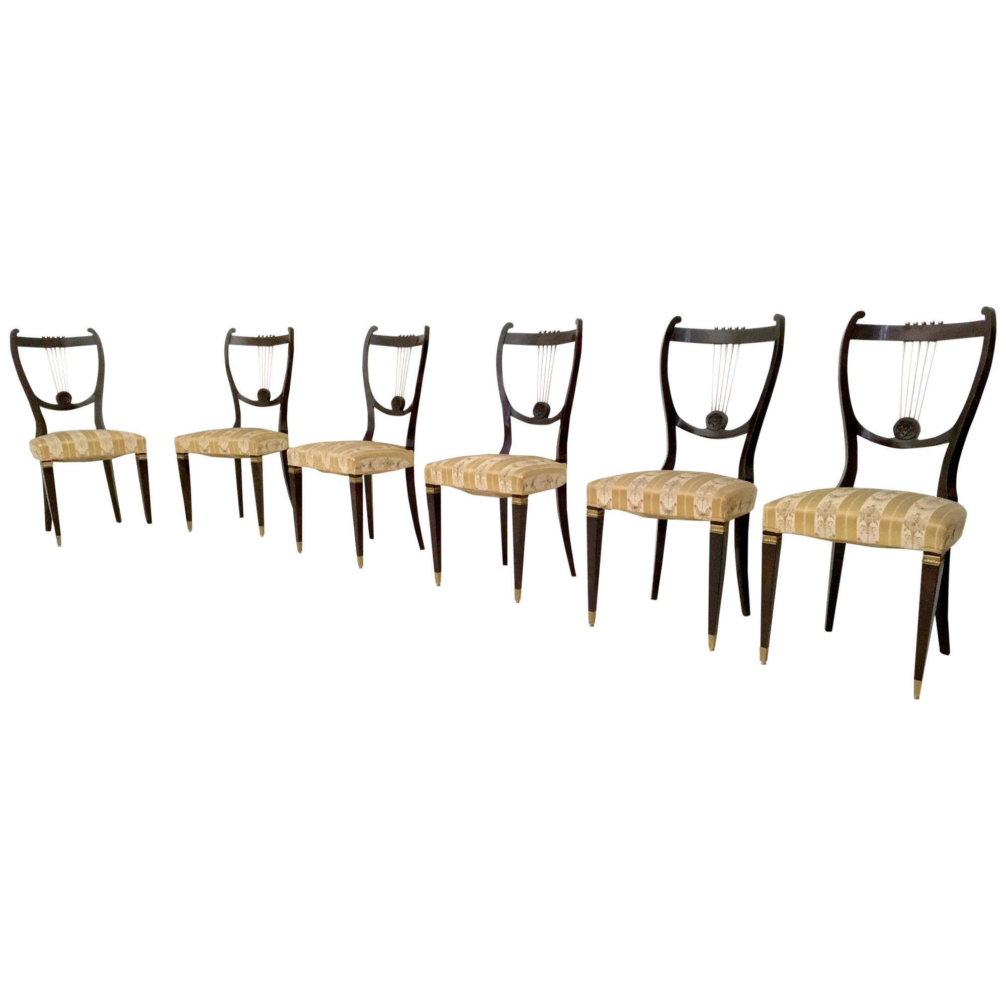 Set of Six Beech and Brass Dining Chairs, Italy, 1940s-1950s