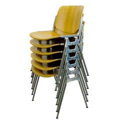 Set of Six Beechwood Castelli DSC 106 Stacking Chairs by Giancarlo Piretti