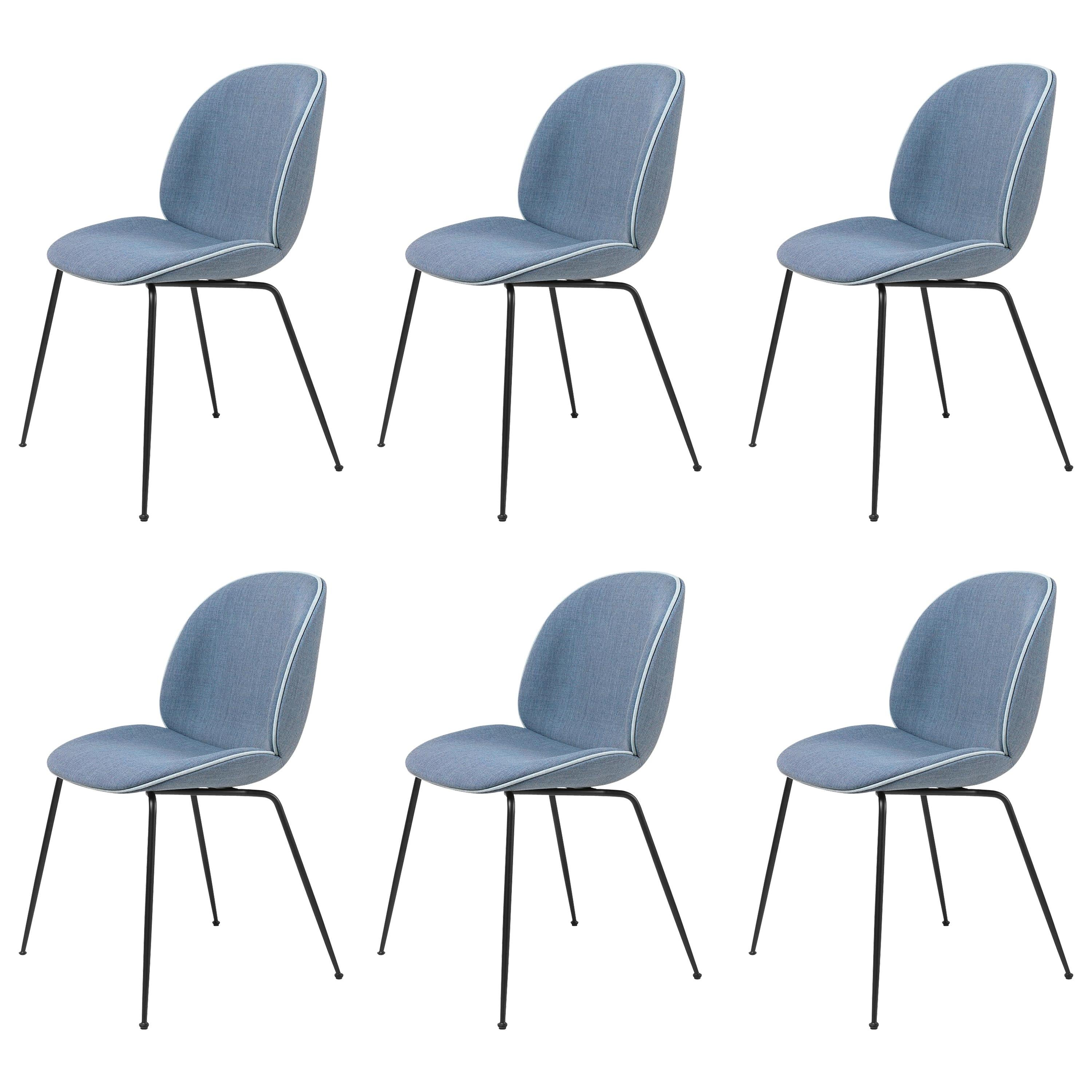 Set of Six Beetle Dining Chairs, Fully Upholstered, Conic Base, Matte Black
