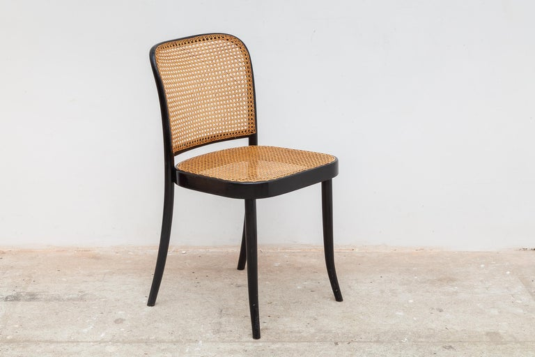 Mid-Century Modern Set of Six Bentwood Cane Dining Chairs Designed by Josef Hoffman for Thonet For Sale