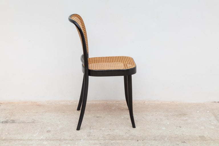 Mid-20th Century Set of Six Bentwood Cane Dining Chairs Designed by Josef Hoffman for Thonet For Sale