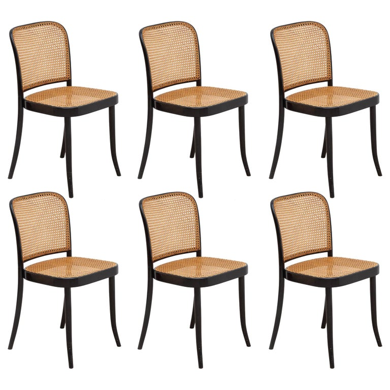 Set of Six Bentwood Cane Dining Chairs Designed by Josef Hoffman for Thonet For Sale