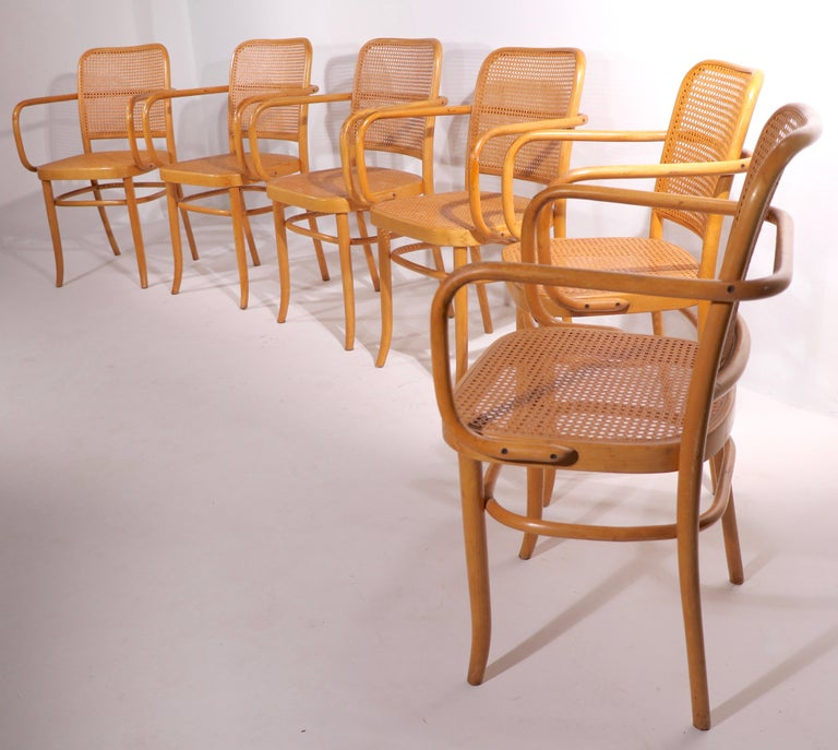 Hard to find set of six armchairs, designed by Josef Hoffman and Josef Frank made in Czechoslovakia, produced by Stendig. This set in is very good, original condition showing only expected cosmetic wear etc. The canning is undamaged, the chairs are