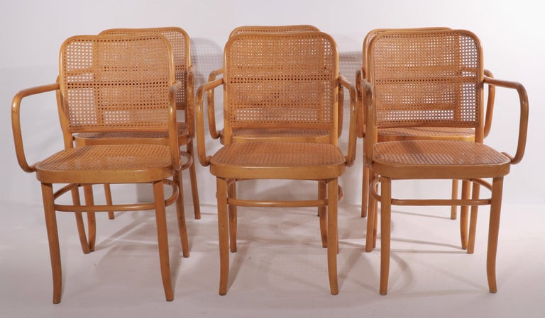 Vienna Secession Set of Six Bentwood Chairs by Hoffman for Stendig For Sale