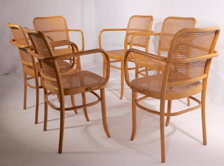 Cane Set of Six Bentwood Chairs by Hoffman for Stendig For Sale