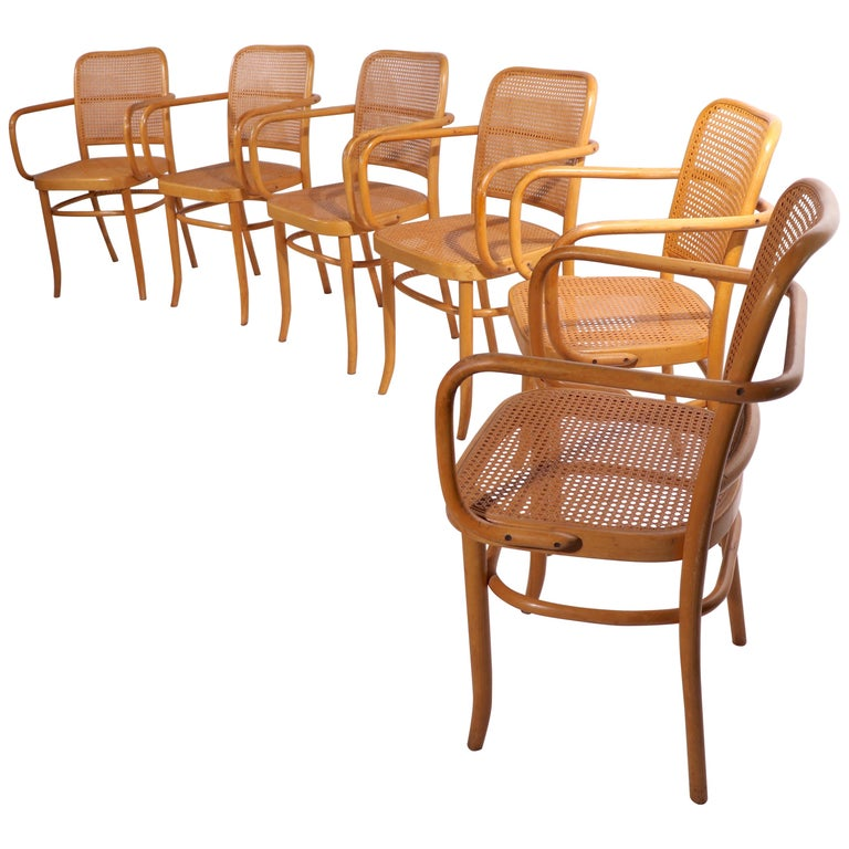 Set of Six Bentwood Chairs by Hoffman for Stendig For Sale