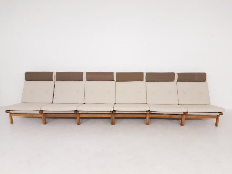 Scandinavian Modern Set of Six Bernt Petersen Oak Lounge Chairs with Outdoor Fabric, Denmark, 1965 For Sale