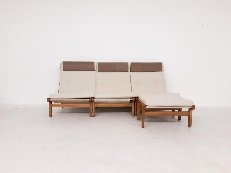 Danish Set of Six Bernt Petersen Oak Lounge Chairs with Outdoor Fabric, Denmark, 1965 For Sale