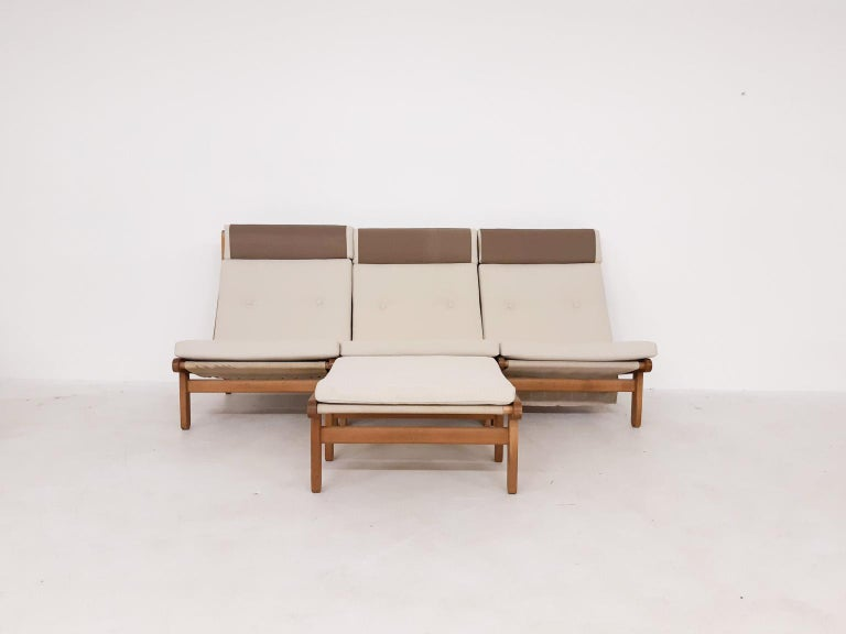 Set of Six Bernt Petersen Oak Lounge Chairs with Outdoor Fabric, Denmark, 1965 In Good Condition For Sale In Amsterdam, NL