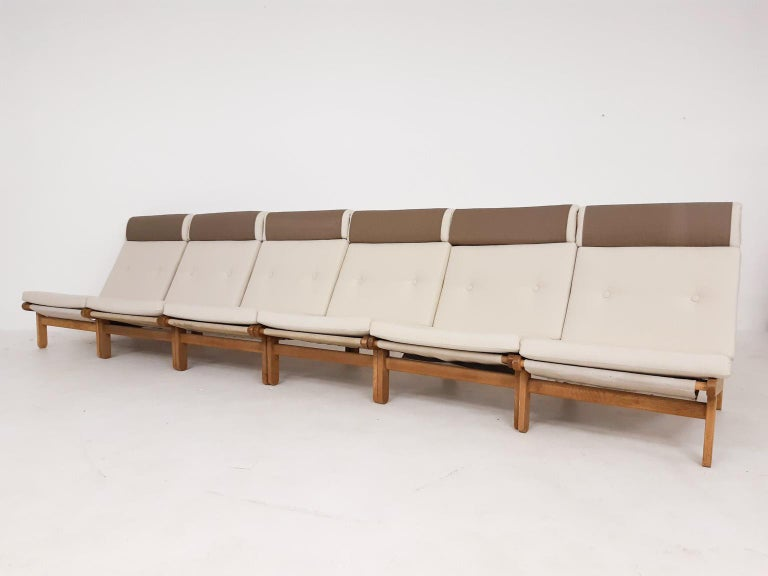 20th Century Set of Six Bernt Petersen Oak Lounge Chairs with Outdoor Fabric, Denmark, 1965 For Sale