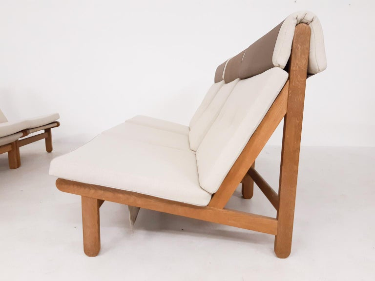Set of Six Bernt Petersen Oak Lounge Chairs with Outdoor Fabric, Denmark, 1965 For Sale 1