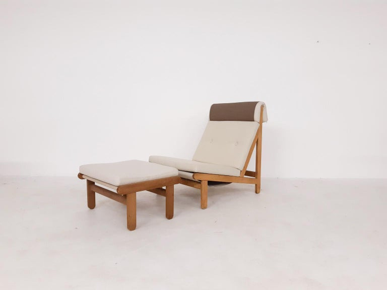 Set of Six Bernt Petersen Oak Lounge Chairs with Outdoor Fabric, Denmark, 1965 For Sale 2
