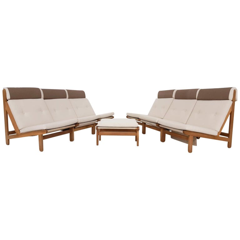 Set of Six Bernt Petersen Oak Lounge Chairs with Outdoor Fabric, Denmark, 1965 For Sale