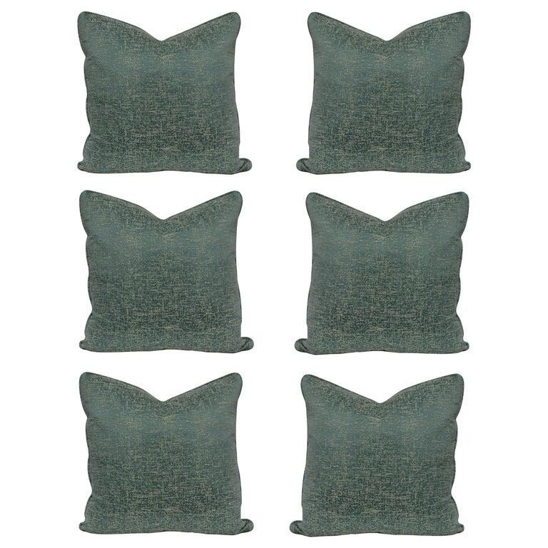 Set of Six Bespoke Silk Cushions For Sale