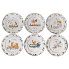 """Set of Six """"Bicentennial French Revolution"""" Hand Painted Plates from Brittany"""