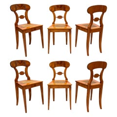 Set of Six Biedermeier Board Chairs, Cherry Veneer and Mesh, Vienna, circa 1830