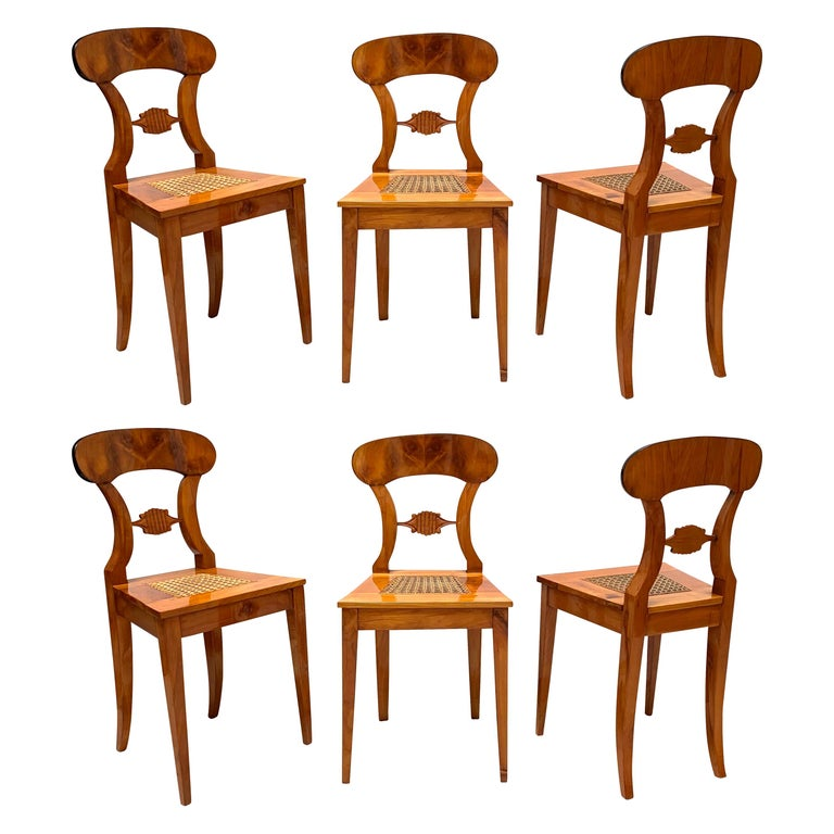 Set of Six Biedermeier Board Chairs, Cherry Veneer and Mesh, Vienna, circa 1830 For Sale