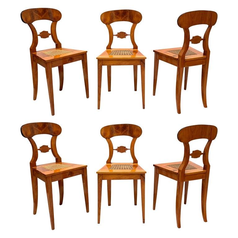 Set of Six Biedermeier Board Chairs, Cherry Veneer and Mesh, Vienna, circa 1830 For Sale