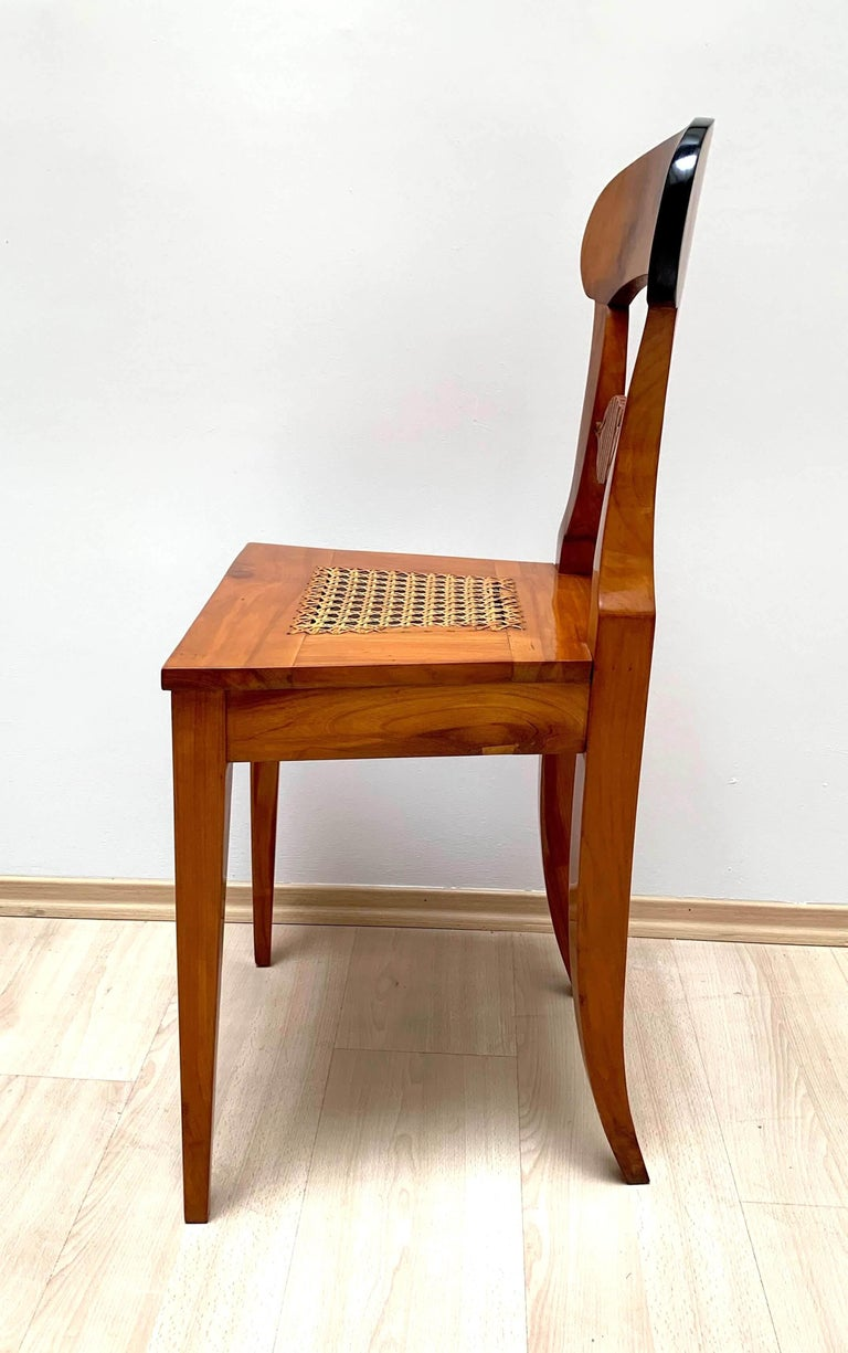Set of Six Biedermeier Board Chairs, Cherry Veneer and Mesh, Vienna, circa 1830 For Sale 3