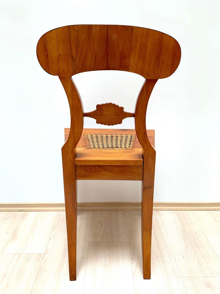 Set of Six Biedermeier Board Chairs, Cherry Veneer and Mesh, Vienna, circa 1830 For Sale 5