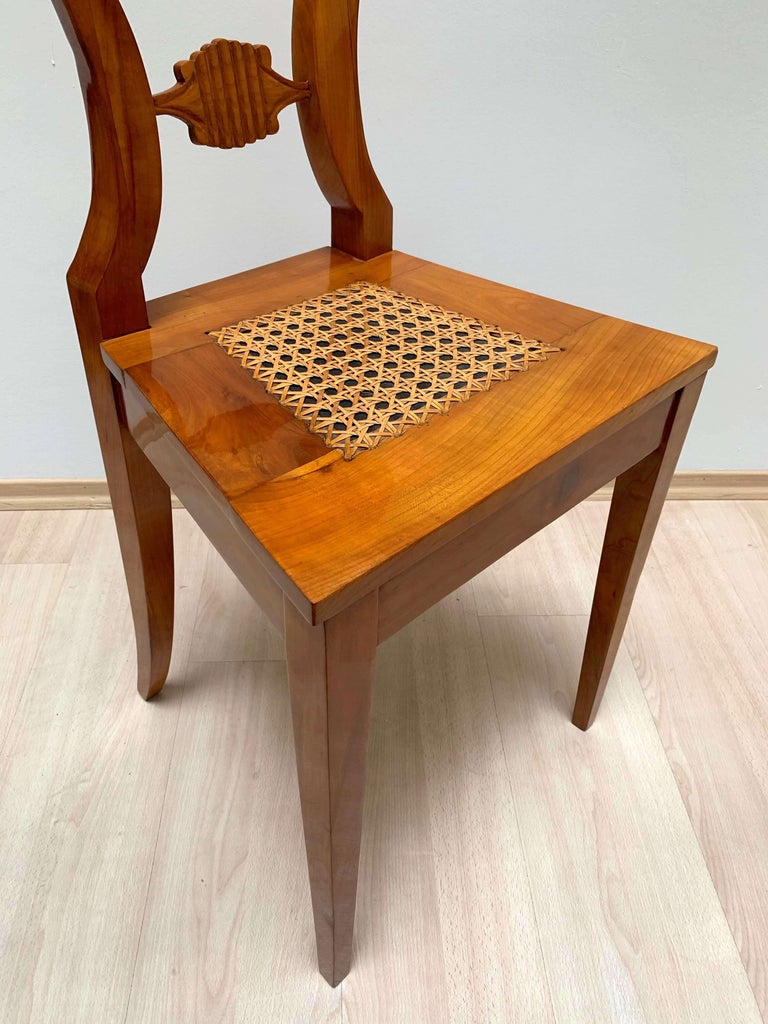 Set of Six Biedermeier Board Chairs, Cherry Veneer and Mesh, Vienna, circa 1830 For Sale 7