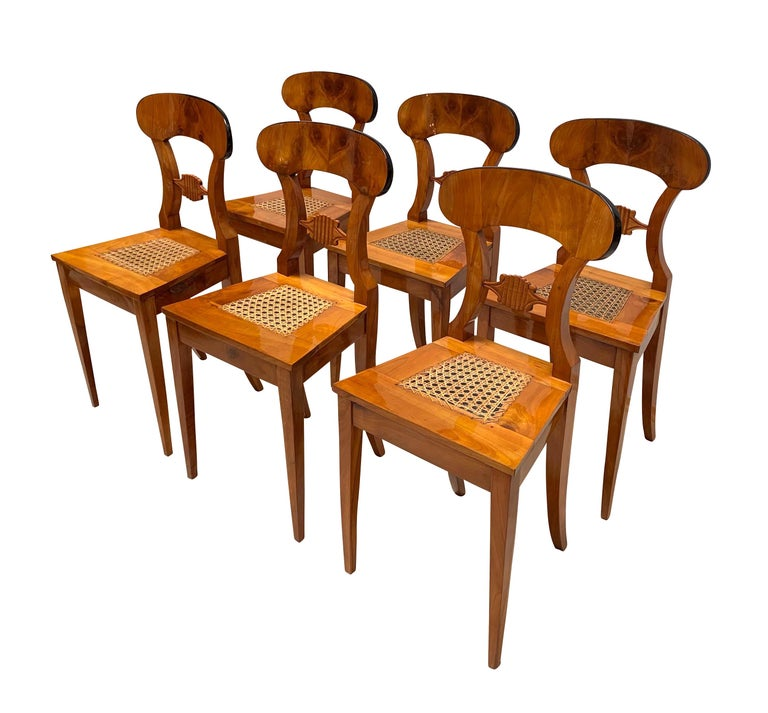 Austrian Set of Six Biedermeier Board Chairs, Cherry Veneer and Mesh, Vienna, circa 1830 For Sale