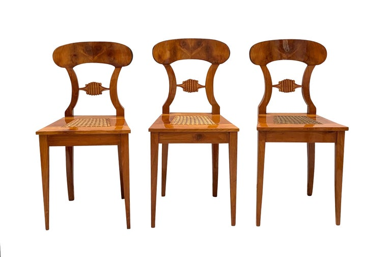 Set of Six Biedermeier Board Chairs, Cherry Veneer and Mesh, Vienna, circa 1830 In Good Condition For Sale In Regensburg, DE