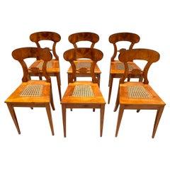 Set of Six Biedermeier Board Chairs, Cherry Veneer, Mesh, Austria, circa 1830