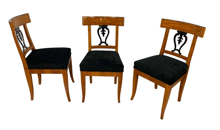 Ebonized Set of Six Biedermeier Chairs, Cherry Veneer and Ash Roots, Germany, circa 1820 For Sale