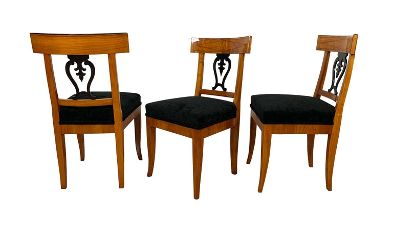 Set of Six Biedermeier Chairs, Cherry Veneer and Ash Roots, Germany, circa 1820 In Excellent Condition For Sale In Regensburg, DE