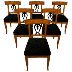 Set of Six Biedermeier Chairs, Cherry Veneer and Ash Roots, Germany, circa 1820