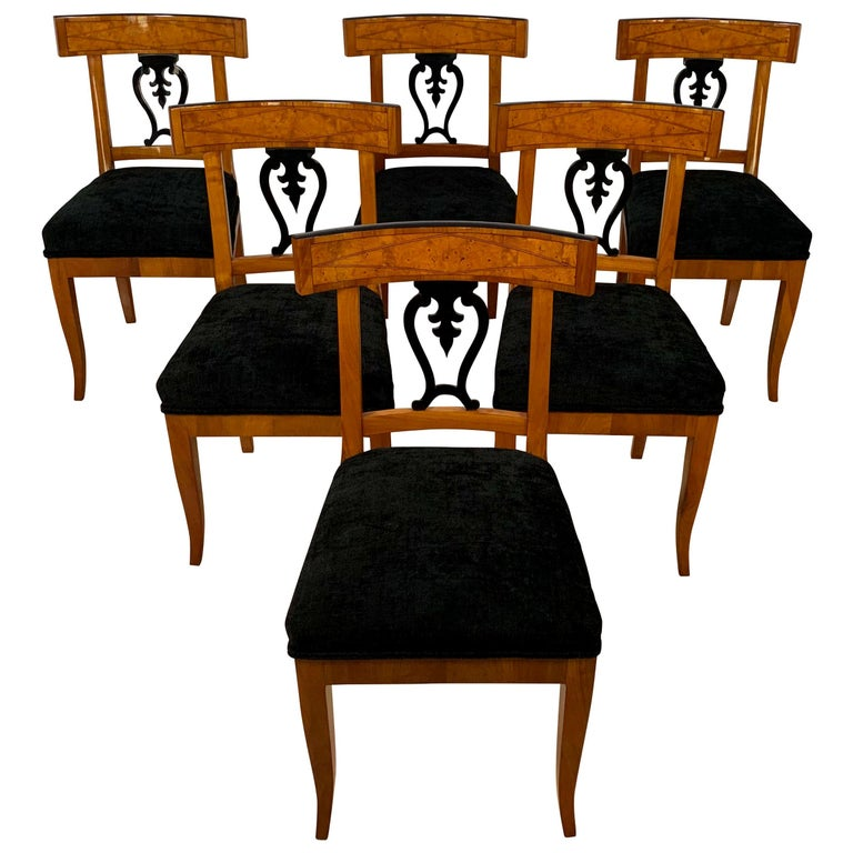 Set of Six Biedermeier Chairs, Cherry Veneer and Ash Roots, Germany, circa 1820 For Sale