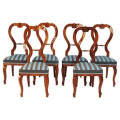 Set of Six Biedermeier Chairs, Made in Czechia, 1840s, Cherry-Tree