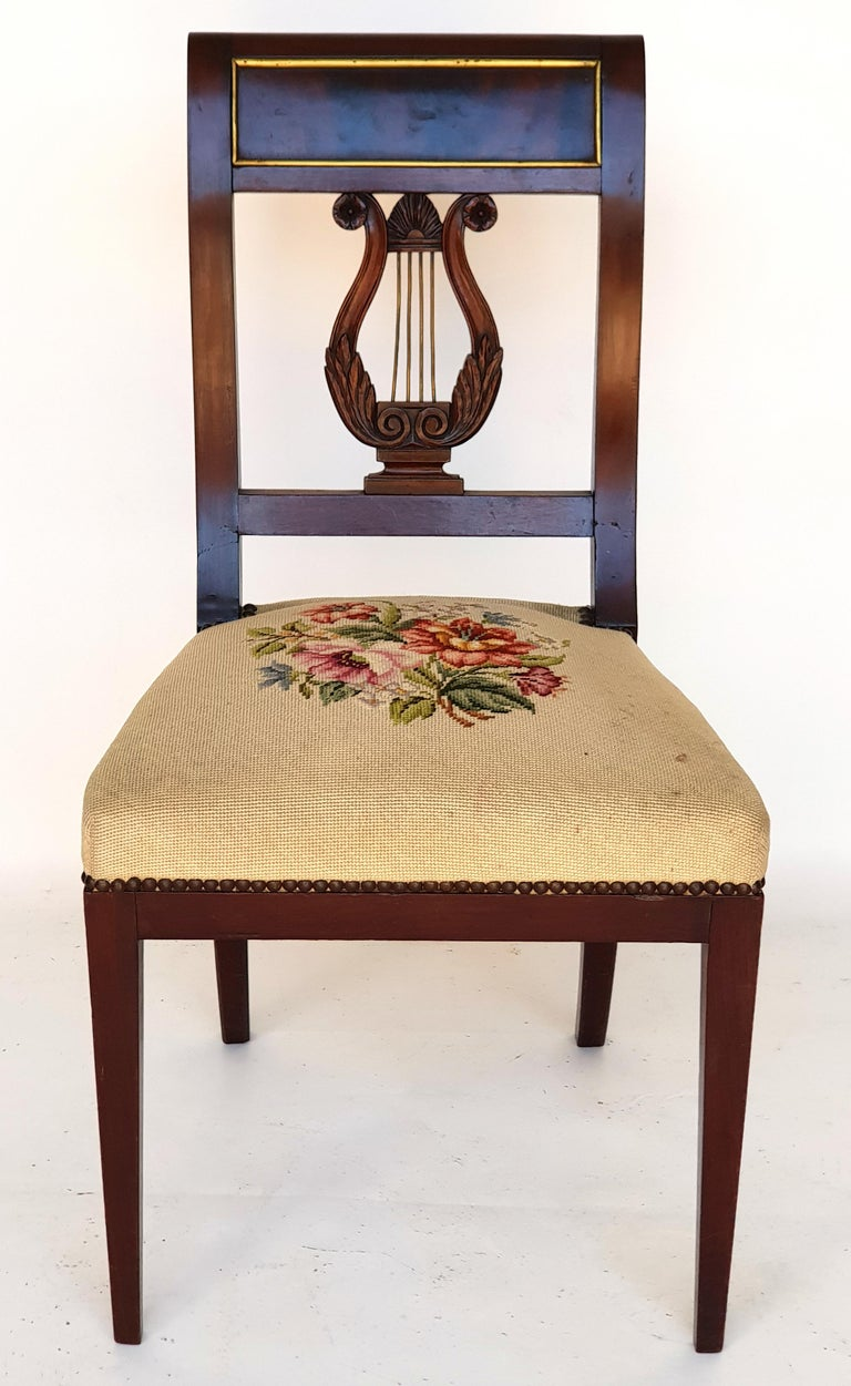 Early 19th Century Set of Six Biedermeier Lyre Chairs, Northern Germany, 1820s