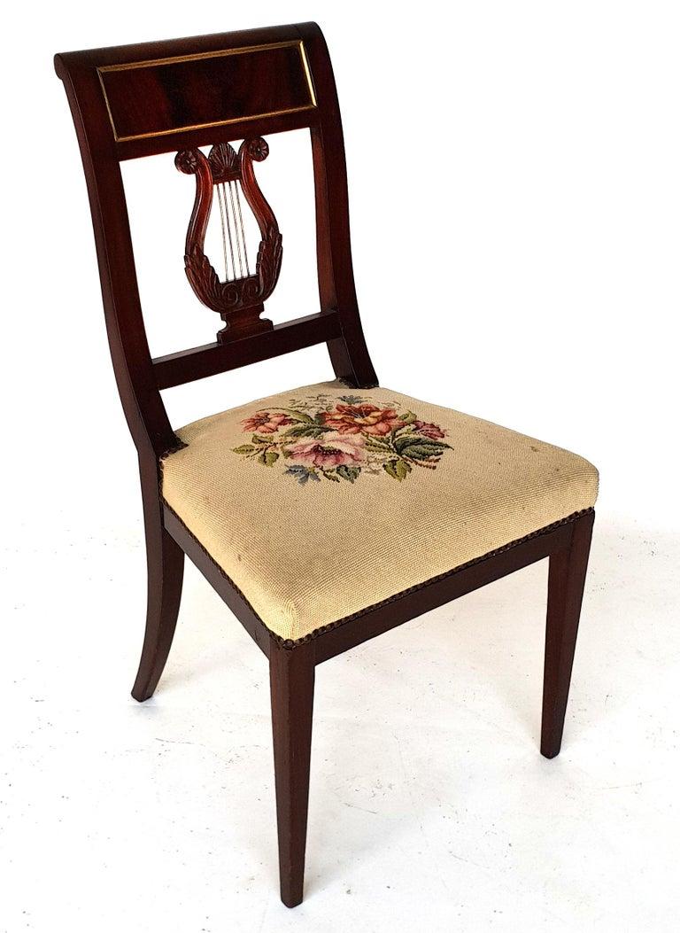Mahogany Set of Six Biedermeier Lyre Chairs, Northern Germany, 1820s