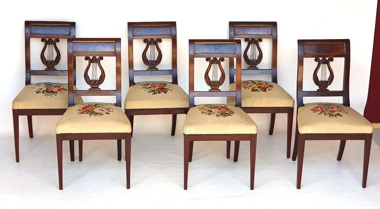 Set of Six Biedermeier Lyre Chairs, Northern Germany, 1820s 2