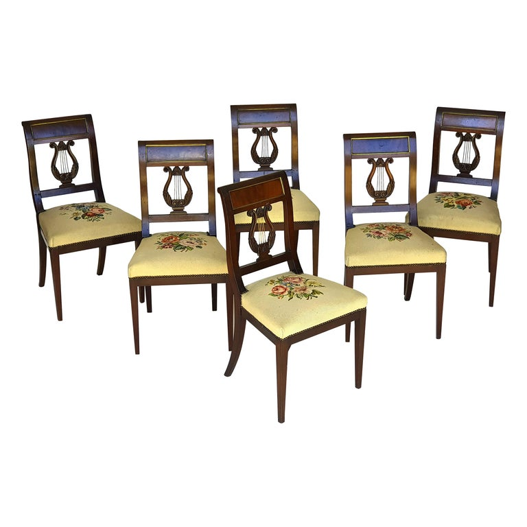 Set of Six Biedermeier Lyre Chairs, Northern Germany, 1820s