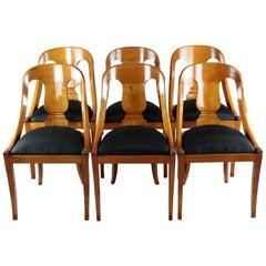 Set of Six Biedermeier Period Dining Chairs, Cherrywood, circa 1820