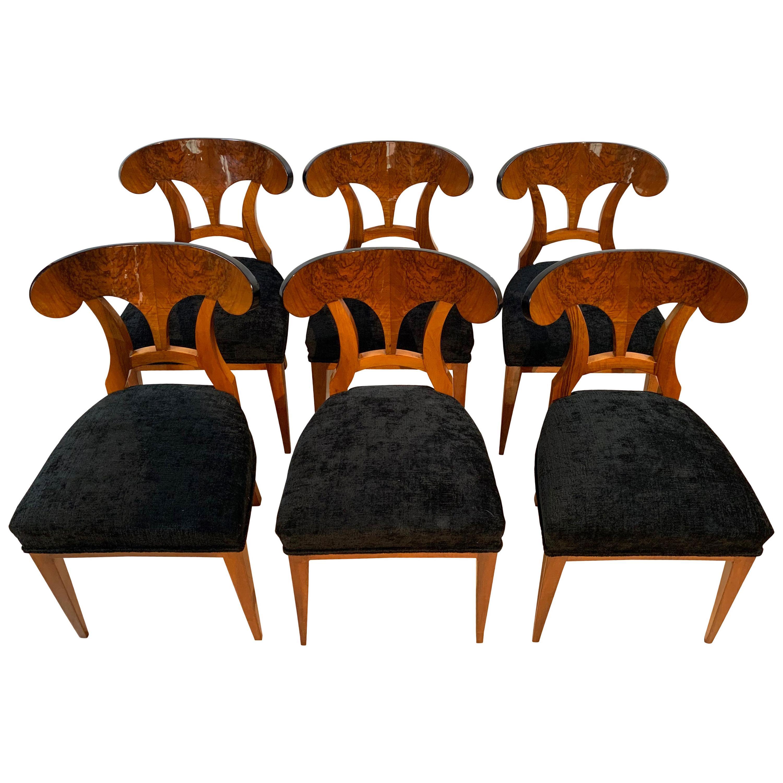 Set of Six Biedermeier Shovel Chairs, Walnut Veneer, South Germany circa 1860