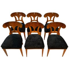 Set of Six Biedermeier Shovel Chairs, Walnut Veneer, South Germany circa 1860