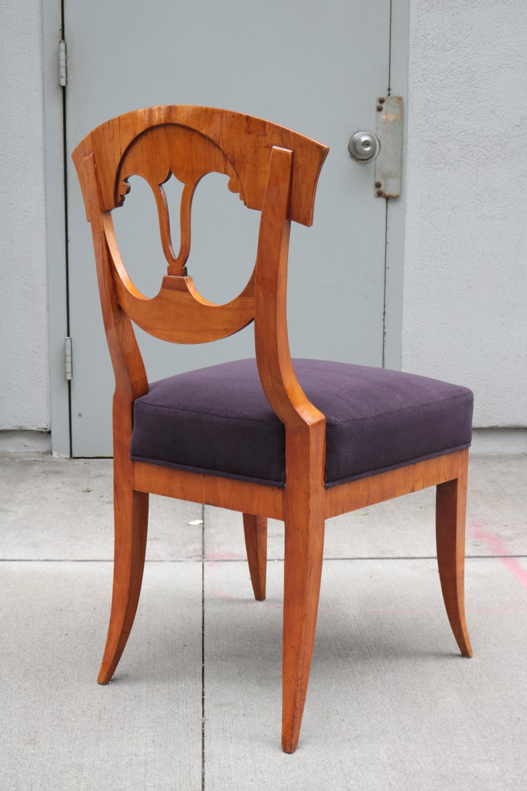 Early 19th Century Set of Six Biedermeier Side Chairs For Sale