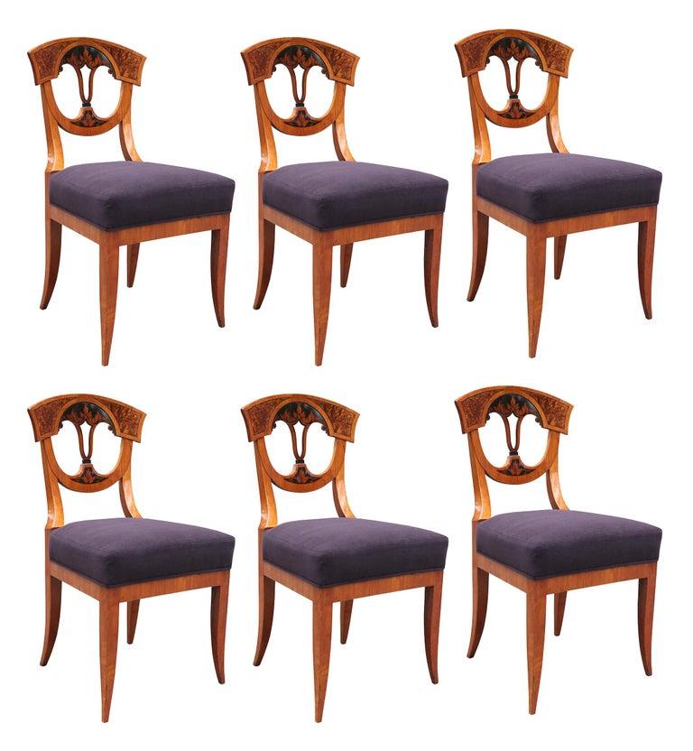 Set of Six Biedermeier Side Chairs For Sale