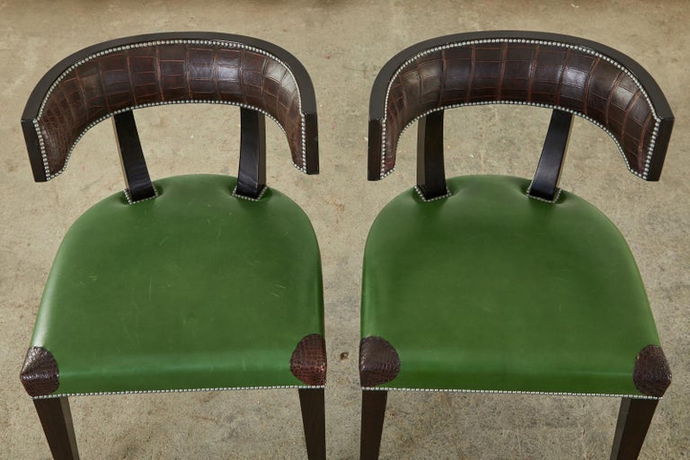 Set of Six Billy Haines Attributed Hollywood Regency Dining Chairs For Sale 3