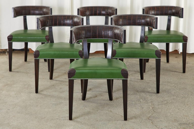 American Set of Six Billy Haines Attributed Hollywood Regency Dining Chairs For Sale